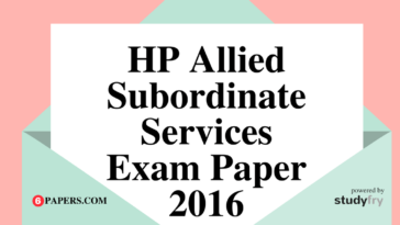 HP Allied Subordinate Services Solved Exam Paper 2016