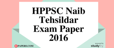 HPPSC Naib Tehsildar Solved Exam Paper 2016