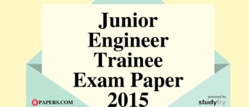 Junior Engineer Trainee (UBTER) Post Code - 70 Solved Paper 2015