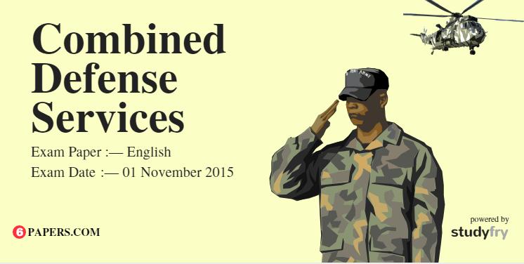 CDS English Exam Paper - 01 November 2015