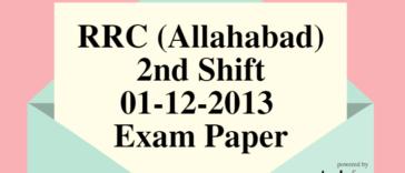 RRC (Allahabad) 01-12-2013 Exam Paper (2nd Shift)