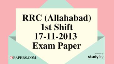 RRC (Allahabad) 17-11-2013 Exam Paper