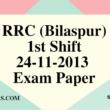 RRC (Bilaspur) 24-11-2013 Exam Paper