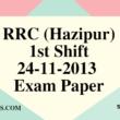 RRC (Hazipur) 01-12-2013 Exam Paper