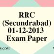 RRC (Secundrabad) 01-12-2013 Exam Paper