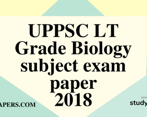 UPPSC LT Grade Biology subject exam paper 29 July 2018 (Answer key)