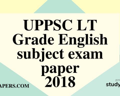 UPPSC LT Grade English subject exam paper 29 July 2018 (Answer key)