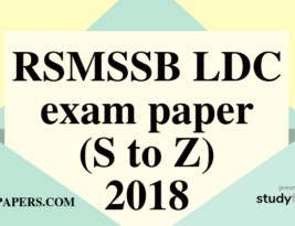 RSMSSB LDC exam paper S to Z – 2018 English Paper (Answer Key) First Shift