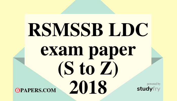 RSMSSB LDC exam paper S to Z - 2018 English Paper (Answer Key) First Shift