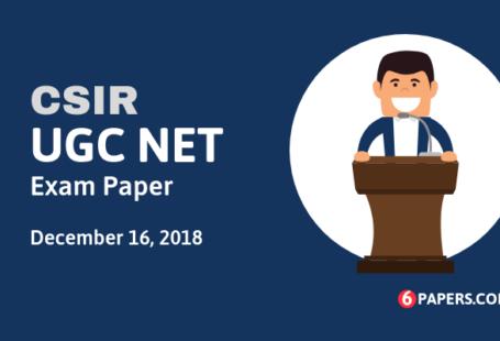 Joint CSIR UGC NET Exam Papers & Answer Keys (PDF) - 2018