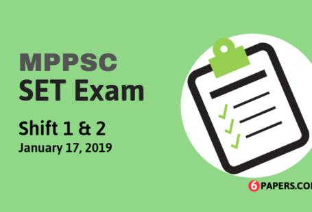 MPPSC SET Exam Paper - 17 January 2019 (Answer Key)