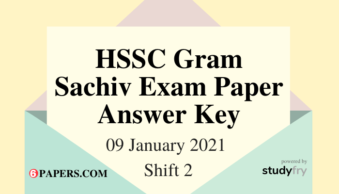 HSSC Gram Sachiv exam 09 January 2021 Shift 2 (Answer Key)