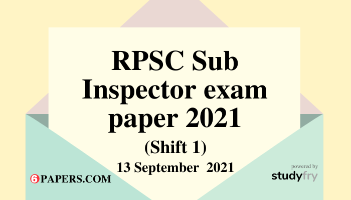 Rajasthan SI exam paper 13 September 2021 (Answer Key) - Paper 1